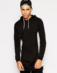 Asos Longline Hoodie With Cut And Sew And Mesh Panels Black