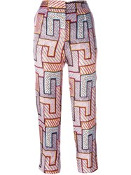 Msgm Geometric Print Trousers Pink And Purple