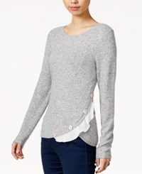 Maison Jules Asymmetrical Ruffled Sweater Only At Macy's Grey
