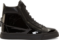 Giuseppe Zanotti Black Patent Leather Side Plaque Vernice Sneakers