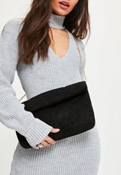 Missguided Black Roll Top Clutch Bag