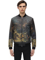 Etro Tattoo Print Leather Bomber Jacket Multicolor