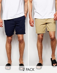 Asos 2 Pack Chino Shorts In Mid Length Save 17 Stonenavy