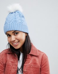 Oasis Cable Knit Beanie With Fur Pom Pom In Blue Mid Blue