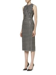 Carolina Herrera Sleeveless Tweed Dress Black White