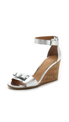 Marc By Marc Jacobs Logo Disc Wedge Sandals Silver
