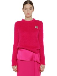 Rochas Embellished Mohair Blend Knit Sweater Fuchsia