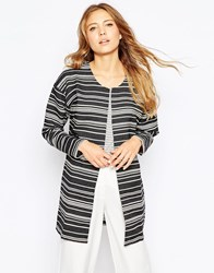 Ichi Striped 3 4 Sleeve Jacket White