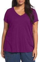Eileen Fisher Plus Size Women's Organic Slub Cotton Jersey Tee Cerise