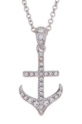 Nadri Crystal Embellished Anchor Pendant Necklace Gray