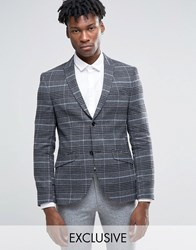 Heart And Dagger Skinny Blazer In Brushed Check Charcoal Grey
