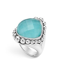 Lagos Sterling Silver Maya Escape Turquoise Doublet Dome Ring Turquoise Silver