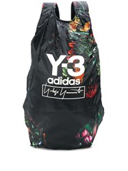 Y 3 Abstract Floral Print Backpack Black