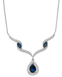 Macy's Sapphire 1 1 3 Ct. T.W. And Diamond 1 6 Ct. T.W. Frontal Necklace In 14K White Gold