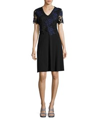 T Tahari Bretta Lace Accented A Line Dress Blue