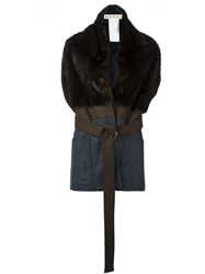 Marni Mink Fur Panel Jacket Brown