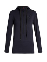 Falke Seamless Long Sleeved Hooded Performance Top Navy