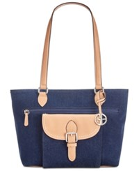 Giani Bernini Denim Conflap Tote Denim Silver