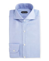 Tom Ford Tailored Fit Textured Oxford Dress Shirt Blue
