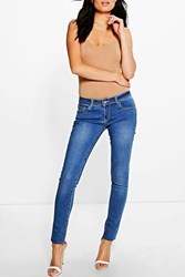 Boohoo Low Rise Mid Wash Skinny Jeans Mid Blue