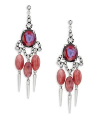 Gerard Yosca Pink Oval Chandelier Earrings No Color