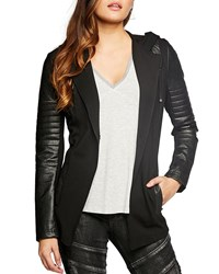 Blanc Noir Hooded Single Button Moto Blazer Black