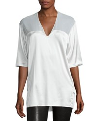 Cnc Costume National Half Sleeve V Neck Top White