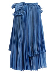 Rochas Pleated Cotton And Silk Blend Skirt Blue