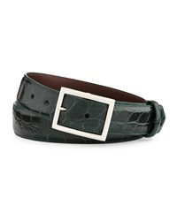 W.Kleinberg Glazed Alligator Belt With 'Simple Rec' Buckle Forest Green Made To Order