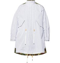 Junya Watanabe Oversized Panelled Striped Cotton And Camouflage Print Ripstop Parka White