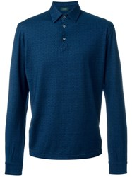 Zanone Embroidered Dot Polo Shirt Blue