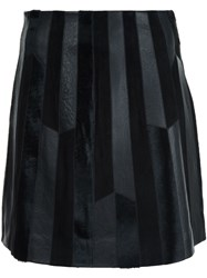 Derek Lam 10 Crosby Patchwork Leather Skirt Black