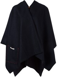 Ermanno Gallamini Draped Back Poncho Blue