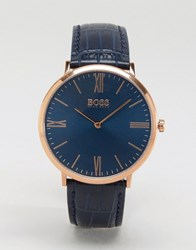 Boss By Hugo Ultra Jackson Leather Watch In Navy Blue