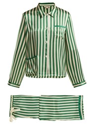 Morgan Lane Ruthie Striped Silk Pyjama Set Green Stripe