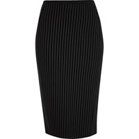 River Island Womens Black Pinstripe Jersey Pencil Skirt