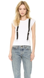 Happiness Suspender Tee White