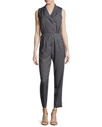 Romeo And Juliet Couture Asymmetric Zip Front Crepe Jumpsuit Iron