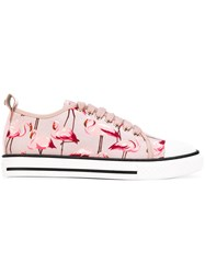 Red Valentino Flamingo Print Sneakers Women Cotton Leather Rubber 36 Pink Purple