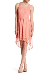 Just For Wraps Hi Lo Lace Tank Dress Pink