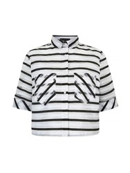 Mela Loves London Stripe Print Cropped Shirt White