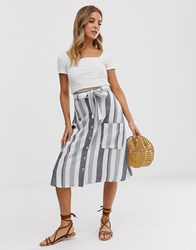 Influence Midi Skirt With Pockets In Natural Stripe Multi