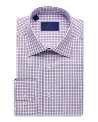 David Donahue Regular Fit Basketweave Check Dress Shirt Pink