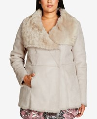 City Chic Trendy Plus Size Faux Shearling Coat Sand