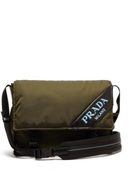 Prada Logo Nylon Messenger Bag Khaki