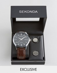 Sekonda Brown Leather Watch And Cufflinks Gift Set Exclusive To Asos Brown