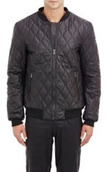 Lot 78 Quilted Leather Bomber Jacket Black