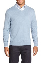 Nordstrom Men's Big And Tall Men's Shop Cotton And Cashmere V Neck Sweater Blue Celestial Heather