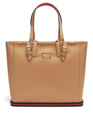 Christian Louboutin Kabiker Leather Tote Bag Beige Silver