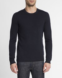 Ikks Navy Blue Flannel Shoulder Patch Round Neck Jumper
